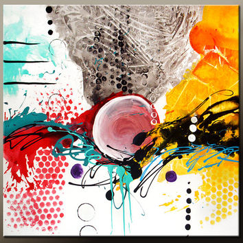 Abstract Canvas Art Painting HUGE 48x48 Contemporary Original Wall Art Free S&H by Destiny Womack -  dWo - Finding the Balance - SALE