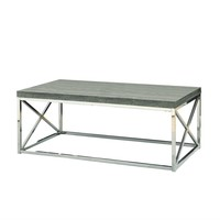 Modern Coffee Table With Chrome Metal Frame & Dark Tape Wood Top