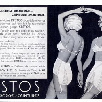 Kestos advertising, fashion ad, vintage advertising for Kestos lingerie underwear retro French ad, French magazine 1935, 11 x 7 inch