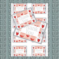 Printable Thank You Tags /  Shabby Chic / Red Hearts / Whimsical Art / Cute Art tags / Eight Tags / Instant Download / Digital Art / Bright