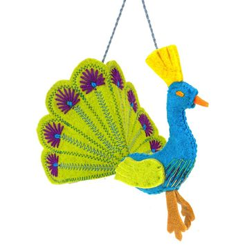 Royal Peacock Fair Trade Felt Tree Ornament (5 color options)
