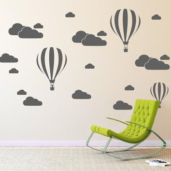 Cloud Helium Balloon Wall Stickers For Kids Rooms Vinyl Home Decor Nursery Decoration Bedroom DIY Mural Removable Cartoon N824