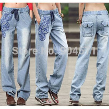 2017 New Summer Denim Jeans Women Flared Wide Leg Elastic Waist Print Casual Fashion Straight Loose Pants S-XL