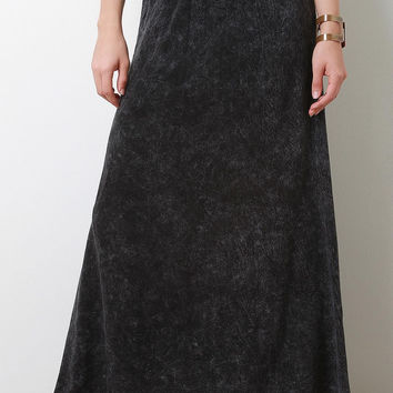 Acid Wash Crochet Band Maxi Skirt