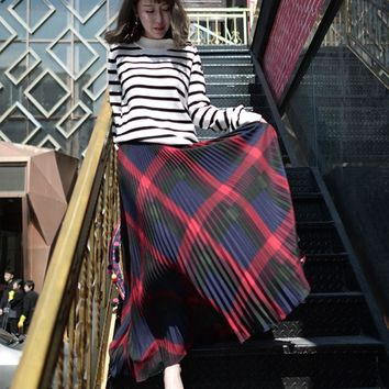 Pleated Skirt Long  Vintage Skirts Womens Summer New Women Casual High Waist  Plaid Skirts Maxi Skirt American Apparel Faldas