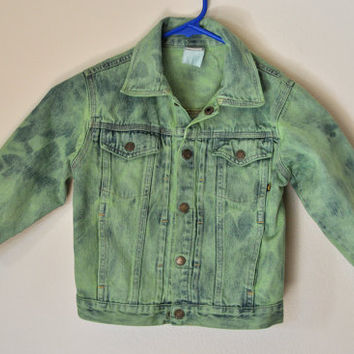 "Childs Denim JACKET - Apple Green Hand Dyed Upcycled Faded Glory Denim Jacket - Childs Size 4T (30"" chest)"