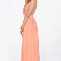 Peach V-neck Spaghetti Straps Backless Maxi Chiffon Dress - Sheinside.com