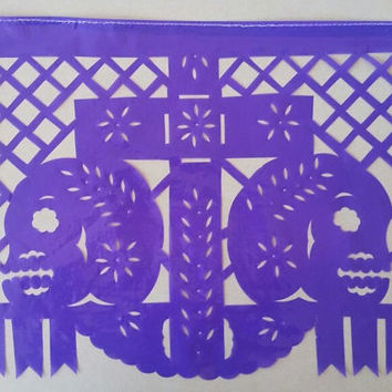 Papel picado garland 8 banners set, day of the dead shrine decor, Mexican tissue paper party decoration, Sugar skull, Cinco de mayo fiesta