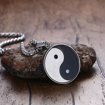 Chinese Mystical Symbol Yin Yang Pendant Necklace for Men Stainless Steel Gossip Meditates Yoga Two Tone Male Jewelry 24 inch