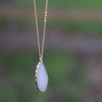 Flat Stone Pendant Necklace