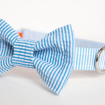 Seersucker Preppy Dog Bow Tie Collar - Your choice of color