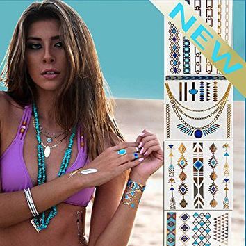 *Coachella Flash Temporary Tattoos* Stylish & Chic Tattoo Jewelry - 29 Metallic Tattoos- Gold, Silver, Turquoise. Long Lasting Formula. Perfect festival gear for Burning Man Costumes & EDC (Penelope)