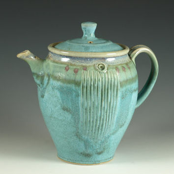 Pottery teapot in turquoise glaze 4 cups loose by Hodakapottery