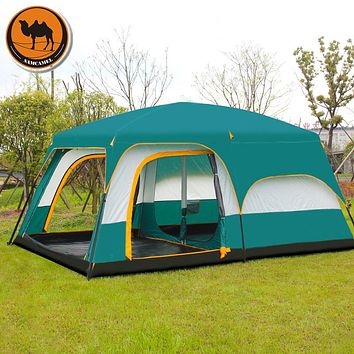 Camel Ultralarge 6 10 12 double layer outdoor 2living rooms 1hall family camping tent