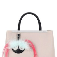 Fendi 'Petite 2Jours' Bicolor Leather Shopper with Genuine Fox & Kidassia Fur Monster Charm | Nordstrom