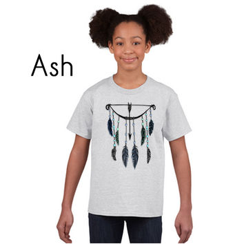 Tribal Feathers and Bow on a Gildan Youth Ultra Cotton T-Shirt