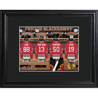 NHL Locker Room Print in Wood Frame - Black Hawks