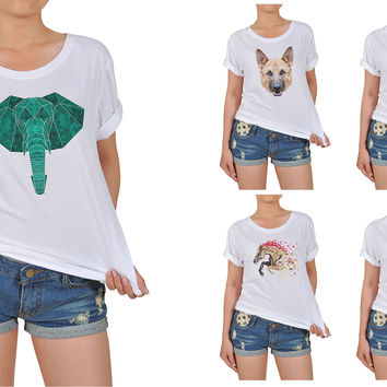 Women Animals in geometric pattern style Graphic Printed Cotton T-shirt WTS_12