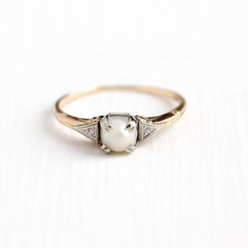 Vintage 14k Rosy Yellow and White Gold Cultured Pearl & Diamond Ring - Size 7 3/4 Art Deco 1930s Two Tone June Birthstone Fine Jewelry