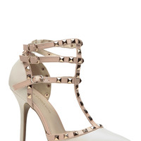 Camel Studded Pointed Toe Single Sole Heels