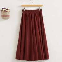 Women's Vintage Elastic Waist Pleated Casual Maxi Skirt