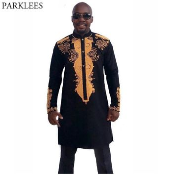 Men's Hipster Long Sleeve African Dashiki Longline T-Shirt 2018 Summer New Traditional Africa Tshirt Casual Brand Tops Tee Shirt