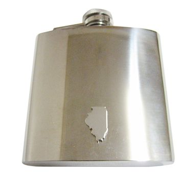 Illinois State Map Shape 6oz Flask
