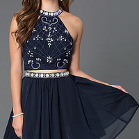 High Neck Two Piece Homecoming Dress 6165