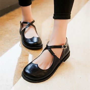 8c0649bb57ac Retro Sweet Womens Round Toe Casual Flats Buckle Cross Strap Mar