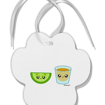 Cute Tequila Shot and Lime Wedge Paw Print Shaped Ornament by TooLoud