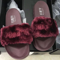 PUMA Fashion Solid Color Leadcat Fur Slipper Sandals Shoes