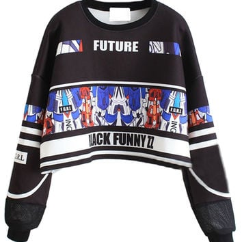 White Striped Gundam No.7 and Letter Print Long Sleeve Cropped Sweatshirt