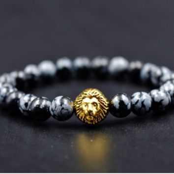 Black and Ivory Bracelet with Gold Lion