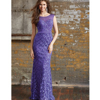 Purple Demure Sweetheart Open Back Sparkling Lace Belted Gown