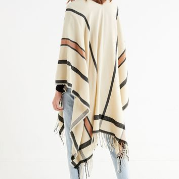 Modern Stripe Brushed Poncho | Urban Outfitters