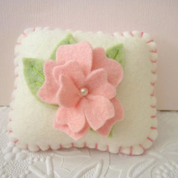 Felt Flower Pincushion Pink Rosette Pinkeep Pillow Felted Wool