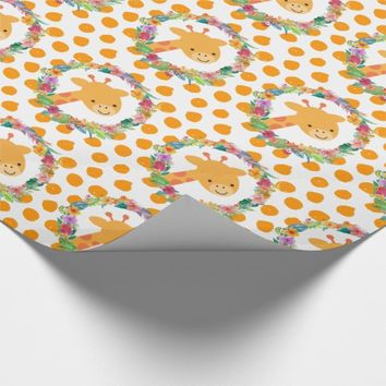 Cute Giraffe with a Watercolor Floral Wreath Wrapping Paper