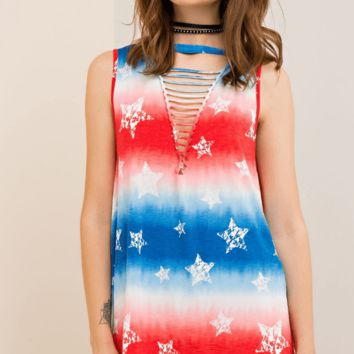 V Neck Cut Out Red, White and Blue Tye Dye with Stars Top