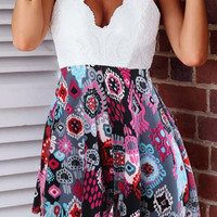 Spaghetti Strap Backless Printed Dress