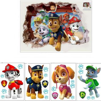 New 3D Ryder patrolled anime wall decals Doggy pawws 3d vinyl stickers for kids rooms decoration baby favorite posters