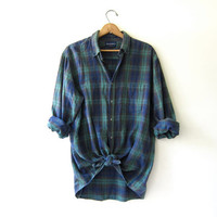 Vintage Plaid Flannel. Grunge Shirt. Boyfriend button up shirt. oversized tomboy shirt
