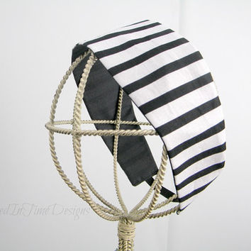 Headband Striped Headband Black and White by TrappedInTimeDesigns