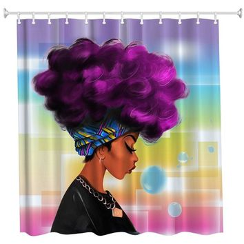 African fashion girl Decorative shower curtain Waterproof  mildew proof, No Chemical Odor Art Print Polyester Fabric Shower curt