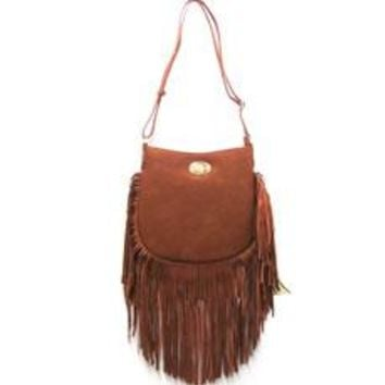 Large Cross Body Purse with Fringe Detail