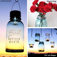 Variety Pack Mason Jar Lids plus Hanger- Solar Light Lid, Flower Frog Lid, & DIY Jar Hanger, Garden, Wedding, 3 Assesories- No Jars