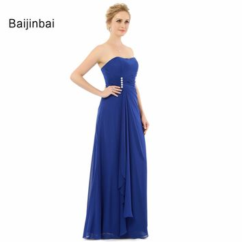 Baijinbai Royal Blue Bridesmaid Dresses Pleat Draped Lace-Up Women Party Dresses Bridesmaid Strapless Wedding Party Dresses