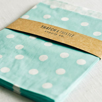 Paper Bags in Baby Blue Polka Dots - Set of 20 - 5x7 Party Favor Kraft Gift Wrapping Invitations Packaging Embellishment Sacks Merchandise