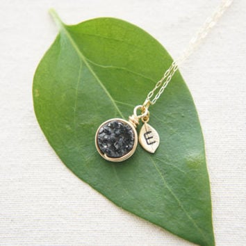Wire Wrapped sparkly black Druzy Quartz necklace with a personalized leaf, rose gold, gold, silver, wedding, bridesmaid