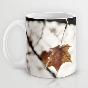 Art Coffee Cup Mug Frozen Geometric lines photography home decor Java Lover white leaf frost Brown gray black nature tree neutral earth tone