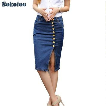Sokotoo Women's plus large size knee length package hip skirt Lady's buttons pencil denim split skirt Female Free shipping